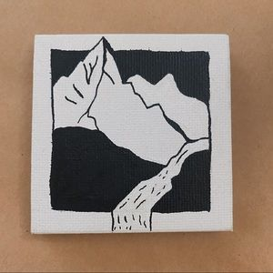Mini Canvas Painting of Mountain with River